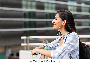 side view of female college student