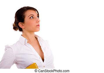side view of female student looking sideways