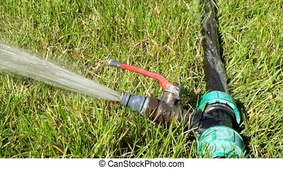 Side view of garden water sprinkler working in spring grass