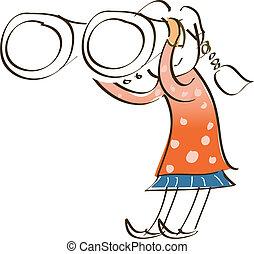 side view of girl is holding binocular