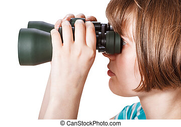 side view of girl looks through field glasses