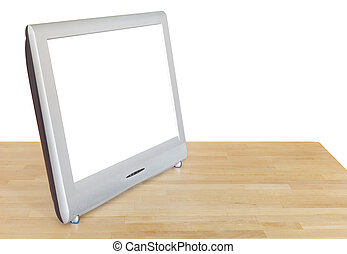 side view of grey TV display with cutout screen