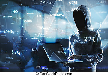 Side view of hacker using laptop with abstract big data interface on blurry background. Software and hardware concept. Double exposure