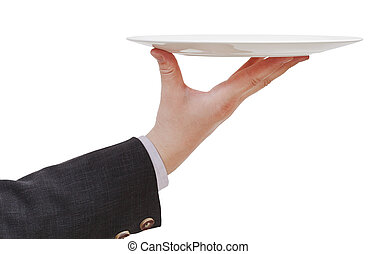 side view of hand with empty flat white plate