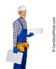 Side view of happy construction worker with toolbox and drawings