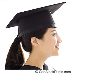 side view of Happy female graduate student