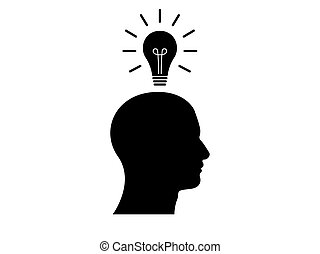 Side view of human being with a light bulb above his head,