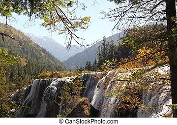 Side view of Jiuzhaigou waterfall