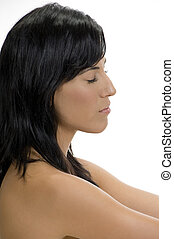 side view of lady with closed eyes
