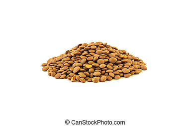 Side view of lentil seeds pile