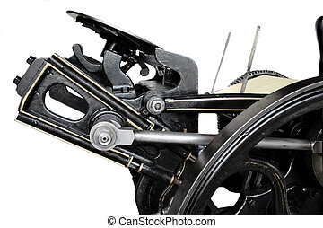side view of a 1901 black letterpress restored to good working condition