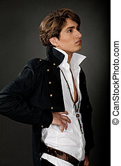 Side view of male model