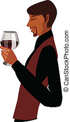 Side view of man holding wineglass