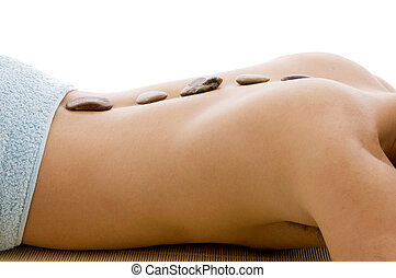 side view of  man lying down for spa treatment