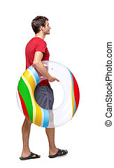Side view of man with a beach bag that goes to the side.