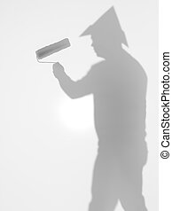 side view of man with paint roller, silhouette