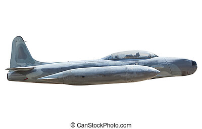side view of military air plane isolated on white