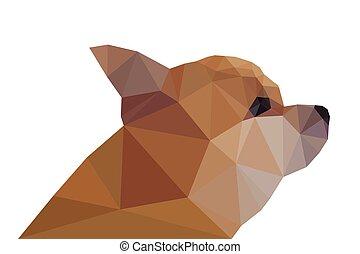 Side View of Modern Funny Chihuahua, geometric triangular trendy