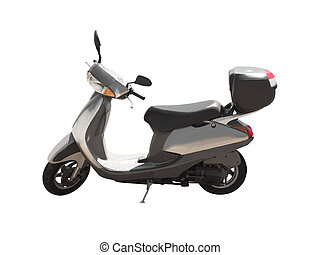 Side view of modern scooter isolated