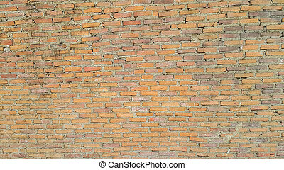Side view of old orange vintage brick wall