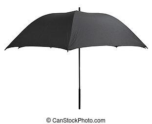 side view of open black umbrella