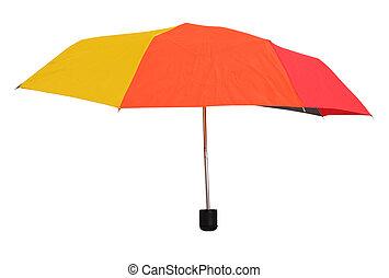 side view of open multicolored umbrella