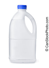 Side view of plastic water bottle