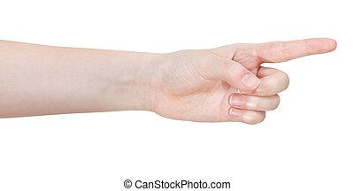 side view of pointing forefinger