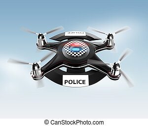 Side view of police drone