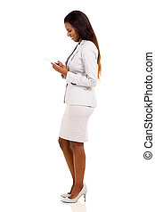 african business woman using cell phone