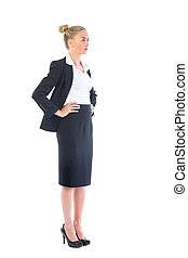 Side view of pretty young businesswoman
