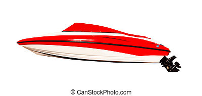 Side view of red motor boat isolated on white background. ...