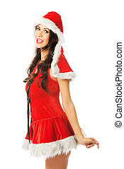 Side view of santa woman smiling to the camera