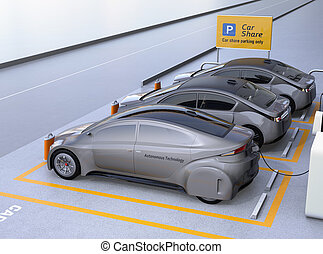 Side view of self driving car available for sharing. Car sharing business concept. 3D rendering image.