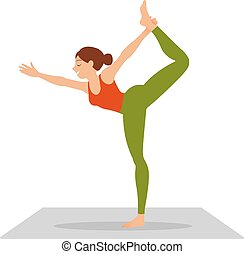 side view of slim woman standing in yoga pose isolated on white background