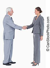 Side view of smiling business partner shaking hands