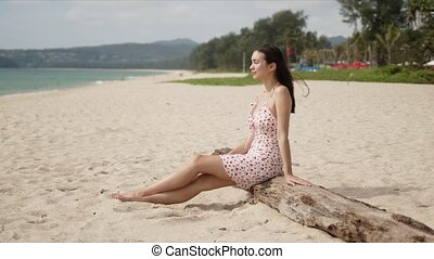 Side view of smiling content lady with closed eyes rest on ...