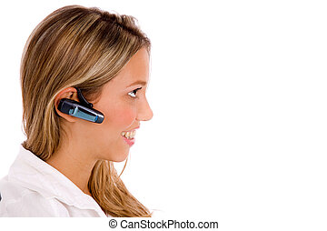 side view of smiling service provider