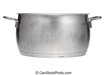 side view of stainless steel saucepan