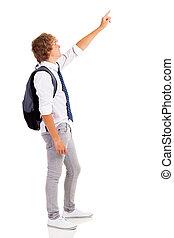 teen boy pointing