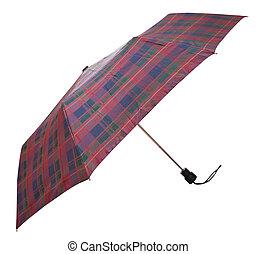 side view of telescopic checkered umbrella