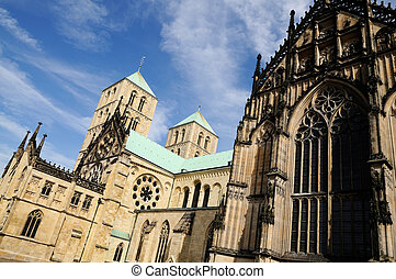 Side-view of the famous St. Paulus Cathedral in Muenster, Germany
