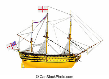 Side view of the HMS Victory isolated on white background