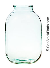 three-liter open glass jar isolated - side view of...
