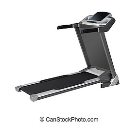 Side view of treadmill isolated on white background