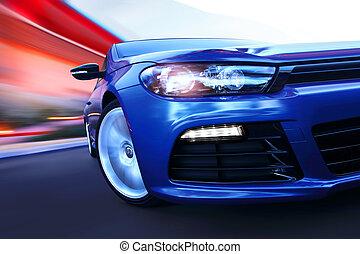 luxury car in motion