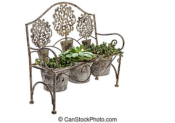Side View of Vintage Ornate Rusted Wrought Iron bench
