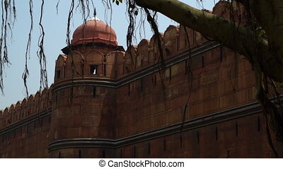 Side view of wall of Red Fort (Lal Qila). - View framed by...