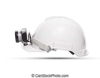 side view of white mining safety helmet with light lamp...