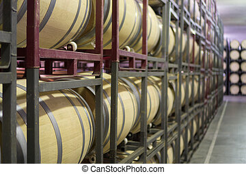 Side view of wine cellar with casks, large array